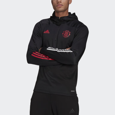 Men Football Black Manchester United Track Hoodie