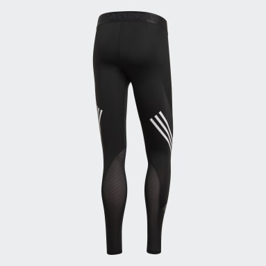 Men Training Black Alphaskin Sport+ Long 3-Stripes Tights