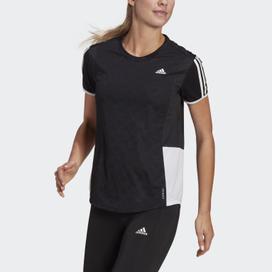 Dames Hardlopen Zwart Own The Run 3-Stripes Iteration T-shirt