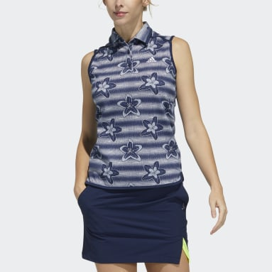 Women Golf Blue Sleeveless Polo Shirt