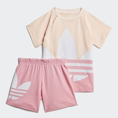 Conjunto Shorts Camiseta Large Trefoil (UNISSEX) Rosa Kids Originals