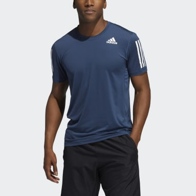 Men Cricket Blue Techfit 3-Stripes Fitted Tee