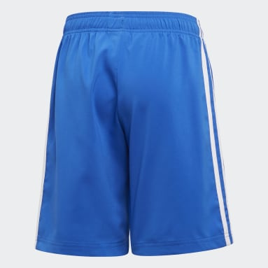 Youth 8-16 Years Gym & Training Blue Essentials 3-Stripes Woven Shorts