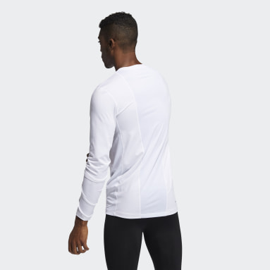 Men Winter Sports White Techfit Compression Long-Sleeve Top