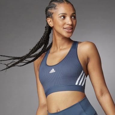Frauen Fitness & Training Believe This 3-Streifen Medium Support Rib Sport-BH Blau