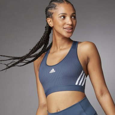 Women Gym & Training Blue Believe This 3-Stripes Medium Support Rib Bra