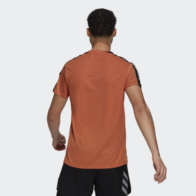 Men Running Orange Own The Run 3-Stripes Running Tee