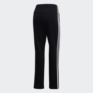 Women Gym & Training Black Essentials 3-Stripes Open Hem Joggers