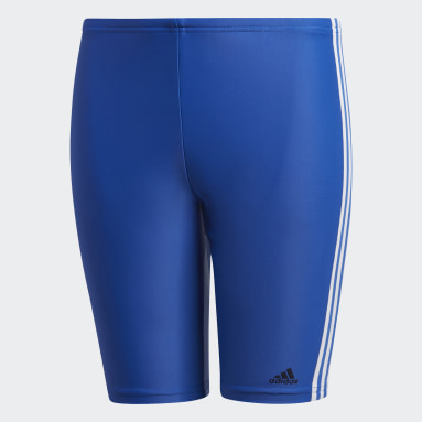 Youth 8-16 Years Swimming Blue 3-Stripes Swim Jammers