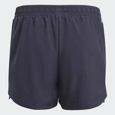 Shorts adidas Designed To Move 3 Tiras Azul Niña Training