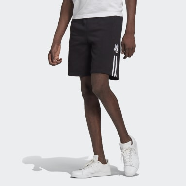Men's Originals Black Adicolor 3D Trefoil 3-Stripes Sweat Shorts