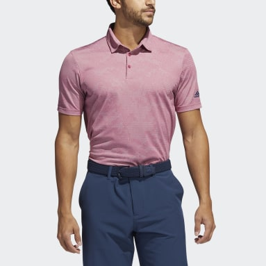 Men Golf Pink Camo Polo Shirt