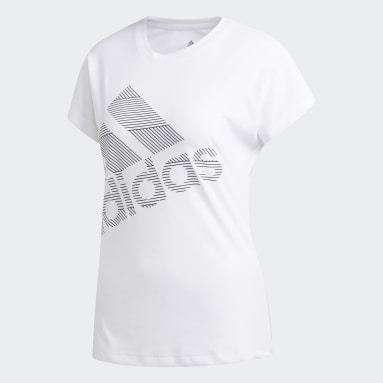 Women Handball White Badge of Sport T-Shirt