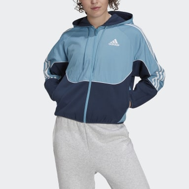 Women Sportswear Blue adidas Sportswear Colorblock Full-Zip Hoodie