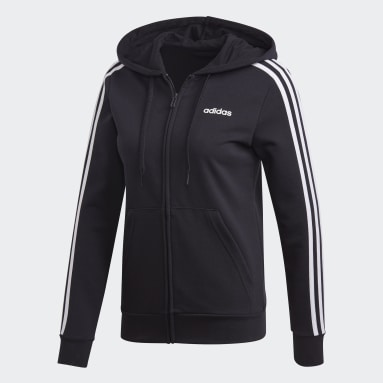 Frauen Sportswear Essentials 3-Streifen Kapuzenjacke Schwarz