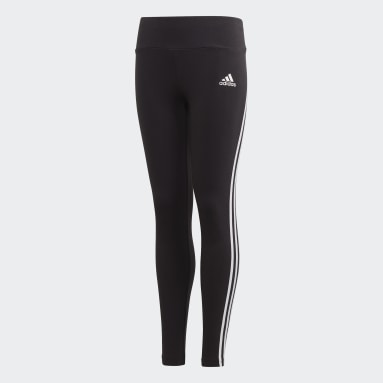 Girls Gym & Training Black 3-Stripes Cotton Tights