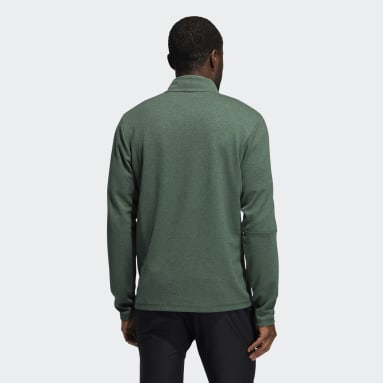 Men Golf Green 3-Stripes Quarter-Zip Pullover