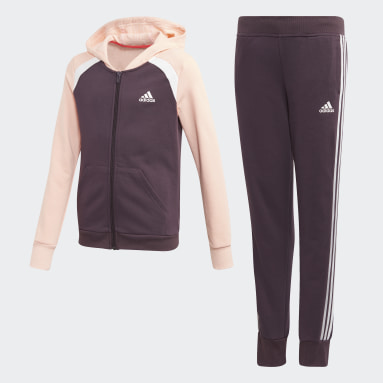 Hooded Cotton Track Suit Fioletowy