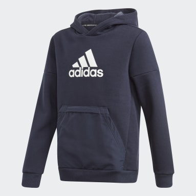 Boys Training Blue Badge of Sport Fleece Hoodie
