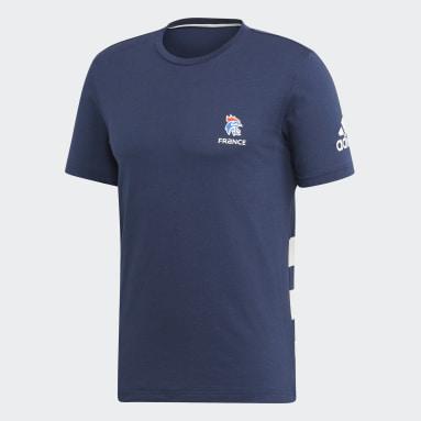 Heren Handbal Blauw Franse Handbalbond T-shirt