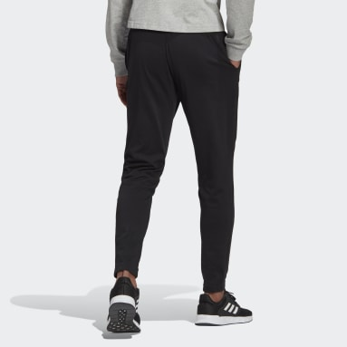 Men Sport Inspired Black Essentials Single Jersey Tapered Elastic Cuff Logo Pants