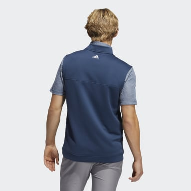 Men Golf Blue Club Quarter-Zip Vest