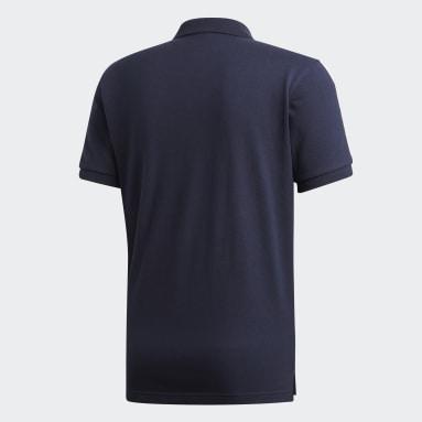 Polera Cuello Polo 3 Tiras Azul Hombre Diseño Deportivo