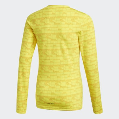 Maglia adidas x Classic LEGO® Bricks Long Sleeve Fitted Giallo Bambini Fitness & Training