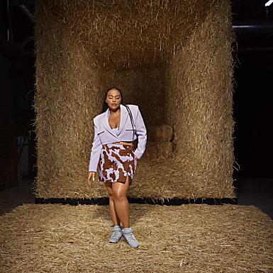 Denim Cow-Print Skirt (Plus Size)