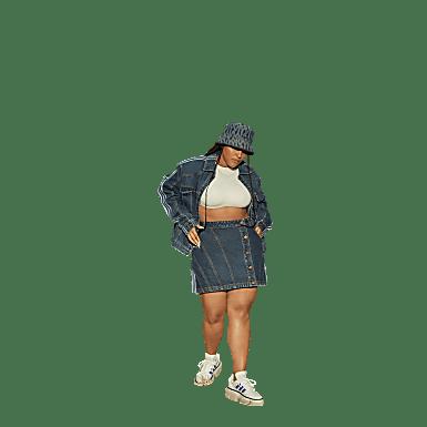 Denim Skirt (Plus Size)