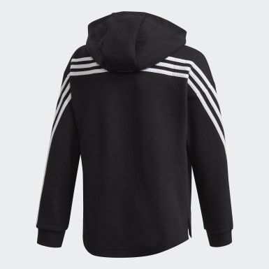Girls Träning Svart 3-Stripes Full-Zip Hoodie