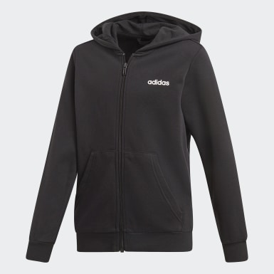 Boys Training Black Essentials Linear Hoodie