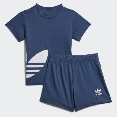 เด็ก Originals สีน้ำเงิน ชุดเสื้อและกางเกงขาสั้น Trefoil Big