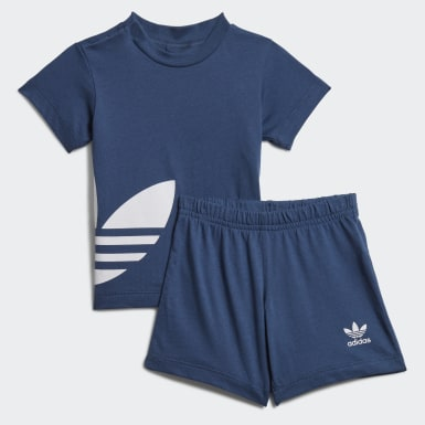 Ensemble Big Trefoil Shorts Tee Bleu Enfants Originals