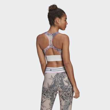 Women adidas by Stella McCartney Pink adidas by Stella McCartney TruePurpose Allover Print Crop Top