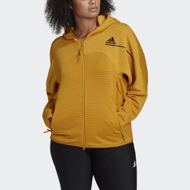 Ženy Athletics zlatá Mikina s kapucňou adidas Z.N.E. COLD.RDY Athletics Plus Size