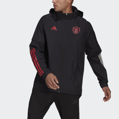 Men Football Black Manchester United All-Weather Jacket
