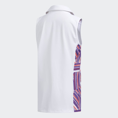 Girls Golf White Novelty Sleeveless Polo Shirt