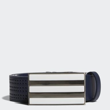 Men Golf Blue 3-Stripes Punch-Hole Belt