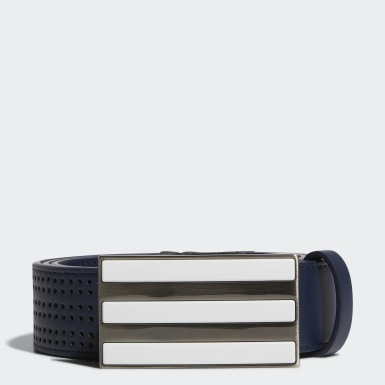 Men Golf Blue 3-Stripes Punch-Hole Belt