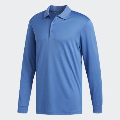 Men Golf Blue Performance Long Sleeve Polo Shirt