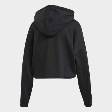 Hoodie Cropped Nero Donna Originals