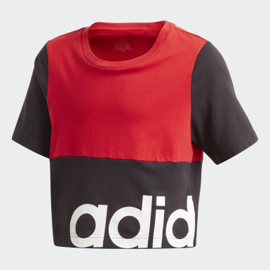 Kids Lifestyle Red Linear Colorblock Tee