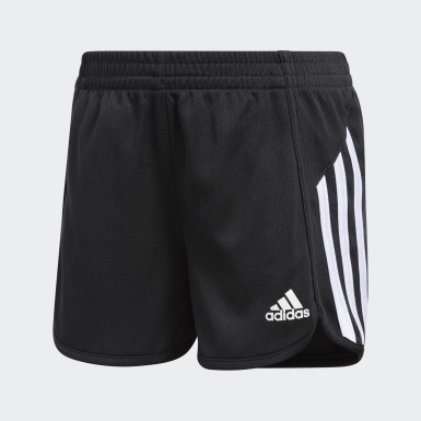 Children Training Black 3-Stripes Mesh Shorts