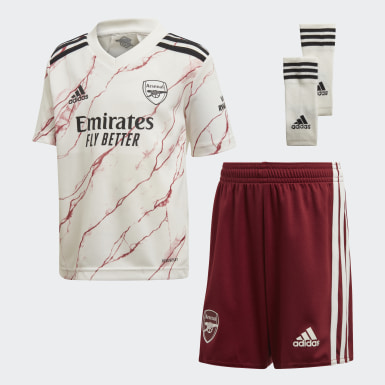 Kids 4-8 Years Football White Arsenal 20/21 Away Mini Kit