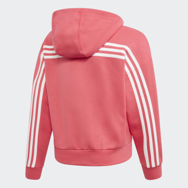 Sudadera con Gorro Must Haves 3 Franjas Rosa Niña Training