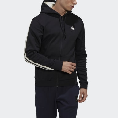 Felpa con cappuccio 3-Stripes Full-Zip Winter Nero Uomo Athletics