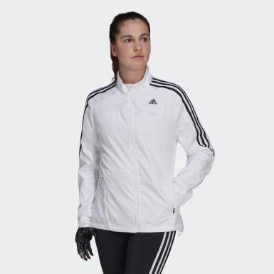 Casaco 3-Stripes Marathon Branco Mulher Running