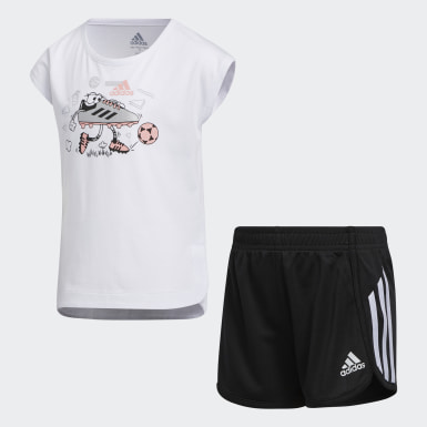 Children Training White Soccer Shorts and Tee Set