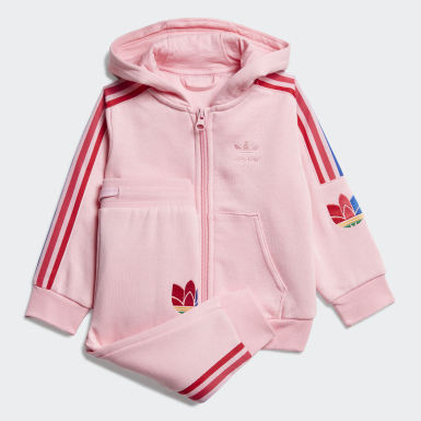 Girls Originals Pink Adicolor 3D Trefoil Full-Zip Hoodie Set